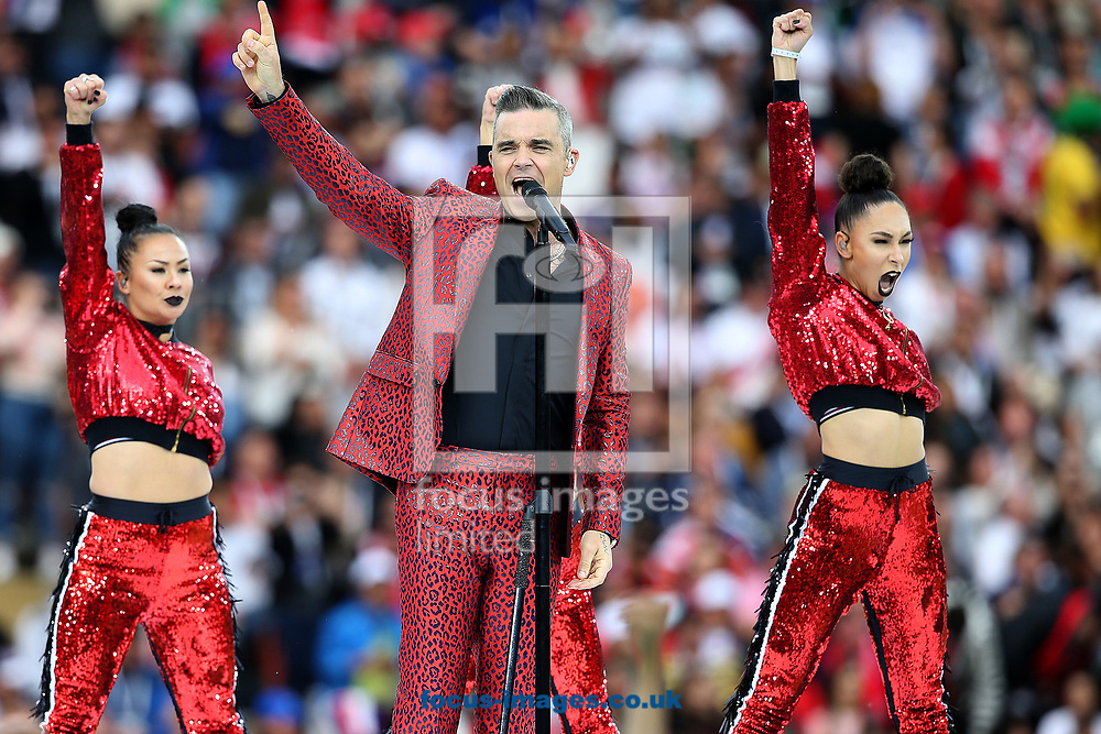 Robbie Williams performs during the opening ceremony of FIFA World Cup Russia 2018 at Luzhniki Stadium, Moscow<br /> Picture by Paul Chesterton/Focus Images Ltd +44 7904 640267<br /> 14/06/2018