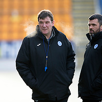St Johnstone Training….<br />Tommy Wright and Callum Davidson pictured during training at McDiarmid Park ahead of Wednesday nights game at Ross County<br />Picture by Graeme Hart.<br />Copyright Perthshire Picture Agency<br />Tel: 01738 623350  Mobile: 07990 594431