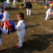 Members of Dentokan Seidokan Dojo demonstrate martial arts at the Leland Founder's day festival.