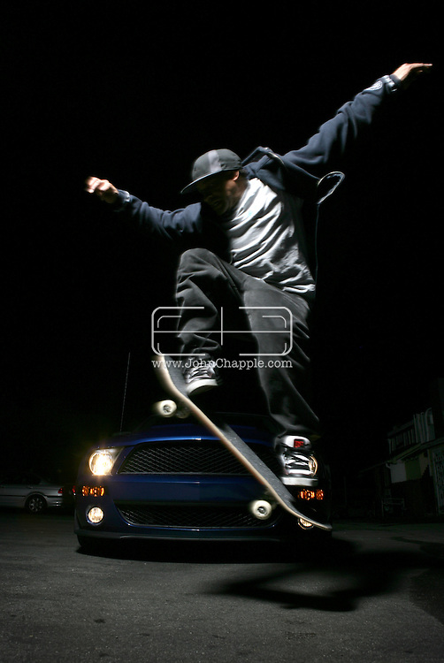 24th February 2008. Santa Monica, California. Professional skateboarder Mark Jones. PHOTO © JOHN CHAPPLE / www.chapple.biz.tel:  (001) 310 570 9100