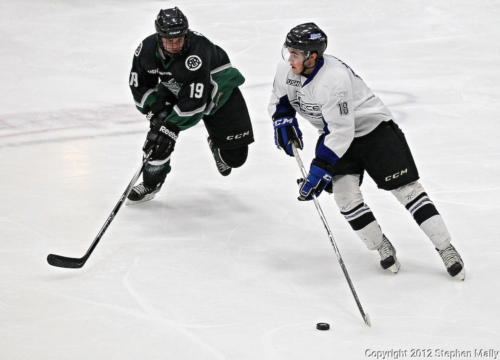 Force's Alexander Iafallo (18) tries to get around Roughriders' Jack Rowe (19) during their game at the Cedar Rapids Ice Arena, 1100 Rockford Road SW in Cedar Rapids on Saturday evening, February 18, 2012. (Stephen Mally/Freelance)