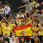 A group of fans cheer on Rafael Nadal as he plays against Igor Sijsling during their match at stadium 1 at the Indian Wells Tennis Garden in Indian Wells, California on Sunday, March 15, 2015.<br /> (Photo by Billie Weiss/BNP Paribas Open)