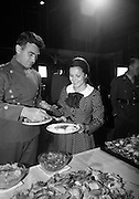 A special screening of the battle scenes from the film 'The Blue Max'  at Ardmore Studios, Bray, Co. Wicklow.  German born stars of the film Karl Michael Volger and Loni von Friedl at the buffet lunch after the screening..16.09.1965