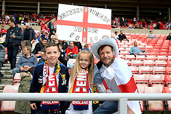 England fans hold up a sign congratulating Jamie Vardy on his recent marriage - Mandatory by-line: Matt McNulty/JMP - 27/05/2016 - FOOTBALL - Stadium of Light - Sunderland, United Kingdom - England v Australia - International Friendly