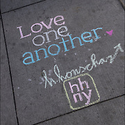 Honschar - Chalk Street Artist Quote &quot;Love One Another&quot;<br /> <br /> Art is to entertain, inspire and educate.<br /> <br /> Street art can be a powerful platform for reaching people in public spaces.