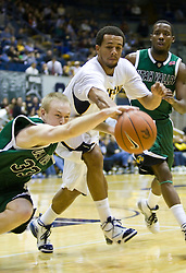 December 28, 2009; Berkeley, CA, USA;  Utah Valley Wolverines forward Nick Jenson (33) dives for a loose ball in front of California Golden Bears forward Omondi Amoke (21) during the second half at the Haas Pavilion.  California defeated Utah Valley 85-51.