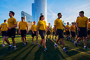 Members of University of Pennsylvania's NROTC disperse after a morning physical training session held at Penn Park in Philadelphia, Pennsylvania on October 20, 2017. Morning physical training sessions begin at ìzero dark thirtyî for the men and women who will become officers in the United States Navy and U.S. Marine Corps after completing their four years of college.