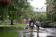 Sabrina Villanueva, left, walks to class with her friend Magdalena Granados at the University of Rochester in Rochester, New York on August 31, 2016. Villanueva earned 12 credits through a community college while in high school in Dallas, but the University didn't accept them, causing her to pursue a minor in Spanish rather than sociology or psychology as she had originally intended.