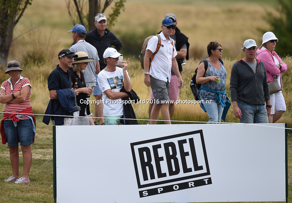 Rebel Sport Sponsorhip signage during Round 3 at The Hills during 2016 BMW ISPS Handa New Zealand Open. Saturday 12 March 2016. Arrowtown, New Zealand. Copyright photo: Andrew Cornaga / www.photosport.nz