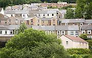 Terraced housing on hillside, Abertillerry, Blaenau Gwent, South Wales, UK