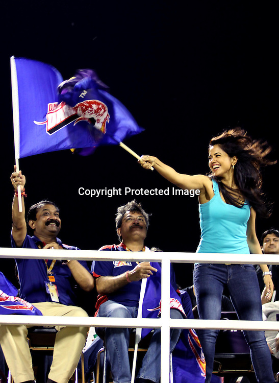 delhi daredevils chairman Take delhi daredevils flag  And Bowllywood Acters Samira Reddy Taken Kolkata Knight Riders flag During The Indian Premier League - 39th match Twenty20 match |2009/10 season Played at Eden Gardens, Kolkata 7 April 2010 - day/night (20-over match)