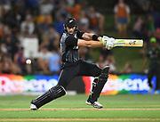 Martin Guptill hits out.<br /> Pakistan tour of New Zealand. T20 Series. 3rd Twenty20 international cricket match, Bay Oval, Mt Maunganui, New Zealand. Sunday 28 January 2018. © Copyright Photo: Andrew Cornaga / www.Photosport.nz
