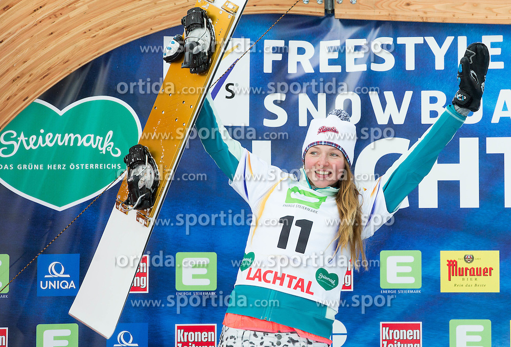 Second placed Alena Zavarzina of Russia celebrates at flower ceremony after the Men's Parallel Giant Slalom at FIS World Championships of Snowboard and Freestyle 2015, on January 23, 2015 at the WM Piste in Lachtal, Austria. Photo by Vid Ponikvar / Sportida