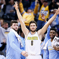 20 November 2016: Denver Nuggets forward Danilo Gallinari (8) celebrates next to Denver Nuggets center Jusuf Nurkic (23) and Denver Nuggets guard Emmanuel Mudiay (0) during the Denver Nuggets 105-91 victory over the Utah Jazz, at the Pepsi Center, Denver, Colorado, USA.
