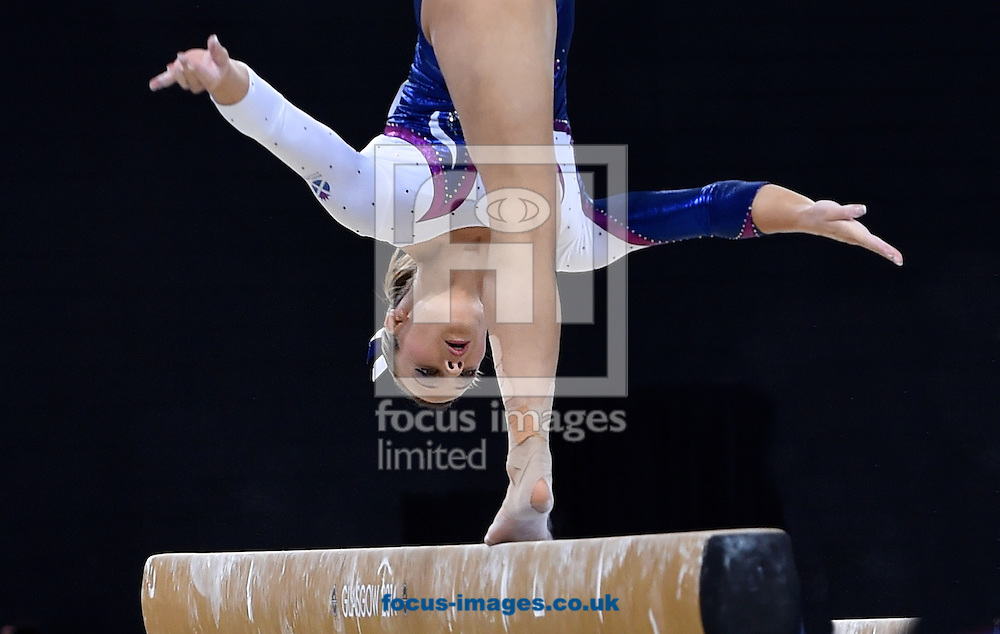 Amy Regan (Scotland) performs on the Balance Beam during the Women's Team Final &amp; Individual Qualification on day two of the Artistic Gymnastics at SSE Hydro, Glasgow<br /> Picture by Alan Stanford/Focus Images Ltd +44 7915 056117<br /> 29/07/2014