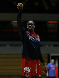Fred Thomas of Bristol Flyers during the warm up - Photo mandatory by-line: Arron Gent/JMP - 20/11/2019 - BASKETBALL - Copper Box Arena - London, England - London Lions v Bristol Flyers - British Basketball League Cup