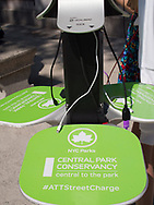 Cell phone solar charging station at Columbus Circle, sponsored by the Central Park Conservancy.
