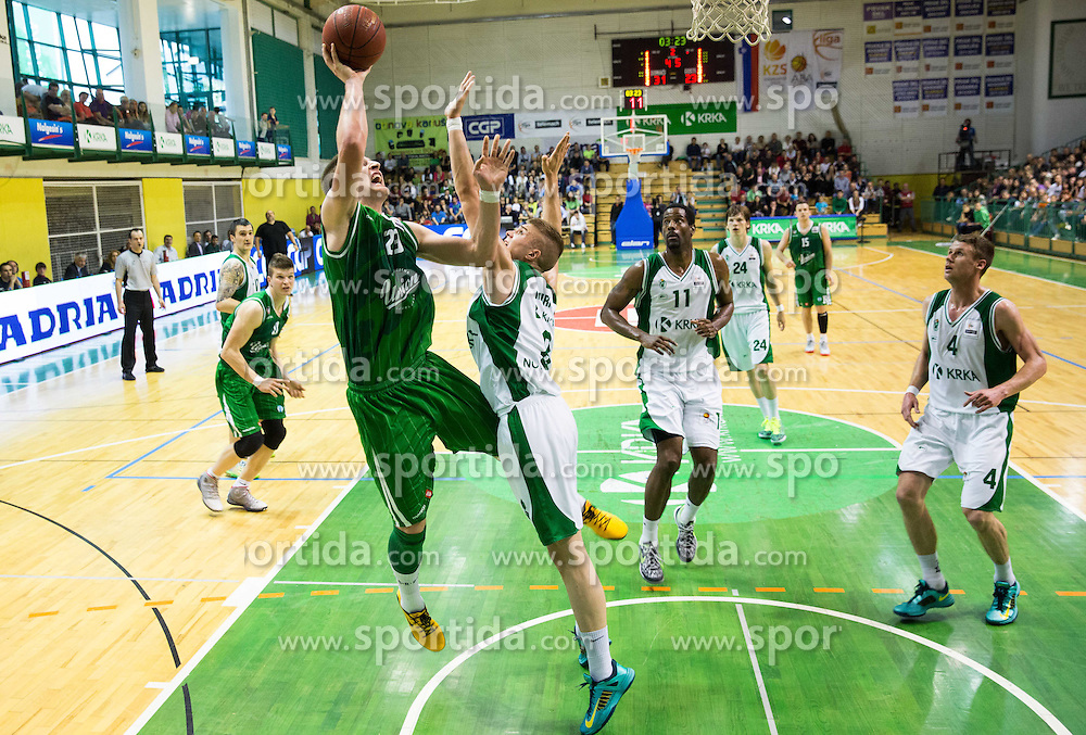 Alen Omic of Union Olimpija vs Edo Muric of Krka during basketball match between KK Krka and KK Union Olimpija in 10th Round of Slovenian National Championship 2013/14, on April 28, 2014 in Dvorana Leona Stuklja, Novo mesto, Slovenia. Photo by Vid Ponikvar / Sportida