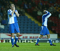 Photo. Aidan Ellis.Digitalsport<br /> Blackburn Rovers v Bournemouth.<br /> Carling Cup 2nd round.<br /> 22/09/2004.<br /> Blackburn's johnathon Douglas cant believe he has mised a chance to score