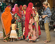 Andrea with group of women, Jodhpur, India