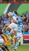 Gloucester Great Britain, left hands on ball, Nicolas SANCHEZ and Marcelo BOSCH, jumping to collect the high ball during the Argentina vs Georgia, Pool C. game. 2015 Rugby World Cup, Venue. Kingsholm Stadium. England, Friday - 25/09/2015 <br /> [Mandatory Credit; Peter Spurrier/Intersport-images]