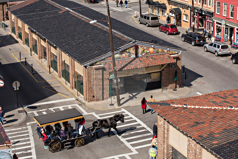 Aerial view of the Historic Charleston City Market on Market Street in Charleston, SC.