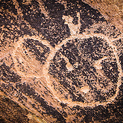 USA, AZ, Arizona, West, Southwest, Petrified Forest, Ancient Native American petroglyphs  in Petrified Forest National Park, AZ.