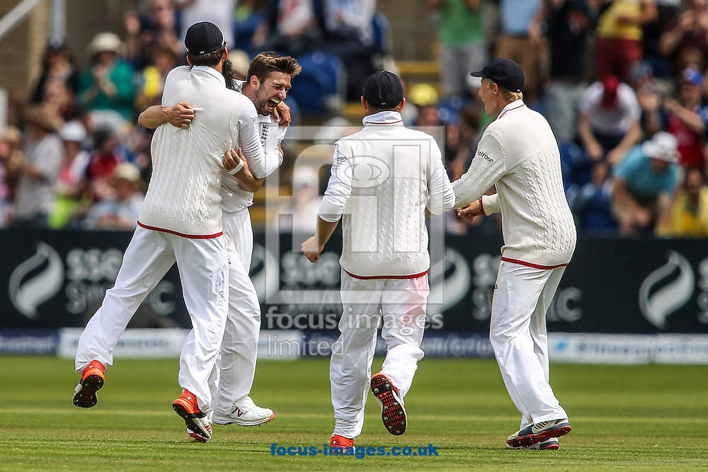 Mark Wood of England (2nd left) celebrates taking the wicket of Adam Voges of Australia (not shown) during the Investec Ashes Series Test Match at Sophia Gardens, Cardiff<br /> Picture by Andy Kearns/Focus Images Ltd 0781 864 4264<br /> 11/07/2015