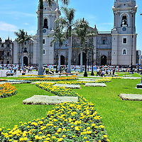 Lima Cathedral Along Eastern  Edge of Plaza Mayor in Lima, Peru <br />