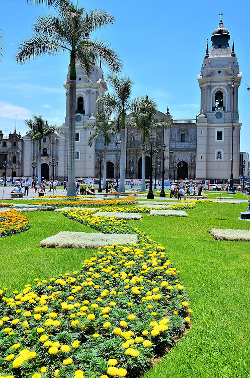 Lima Cathedral Along Eastern  Edge of Plaza Mayor in Lima, Peru <br /> Anchoring the eastern side of Plaza Mayor, formerly called Plaza de Armas, is the Cathedral of Lima. The cornerstone for this Roman Catholic basilica was placed in 1535 by Francisco Pizarro, the Spanish conquistador who founded the city after conquering the Inca Empire. He was assassinated in 1541. It was not until 1977 that his head was correctly identified and entombed in a crypt within the first chapel on the right side of church.