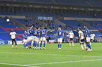 Football - 2019 / 2020 Championship - Play-off semi-final - 1st leg - Cardiff City vs Fulham<br /> <br /> Neeskens Kebano of Fulham scores his team's second goal<br /> in a match played with no crowd due to Covid 19 coronavirus emergency regulations, in an almost empty ground, at the Cardiff City Stadium<br /> <br /> COLORSPORT/WINSTON BYNORTH