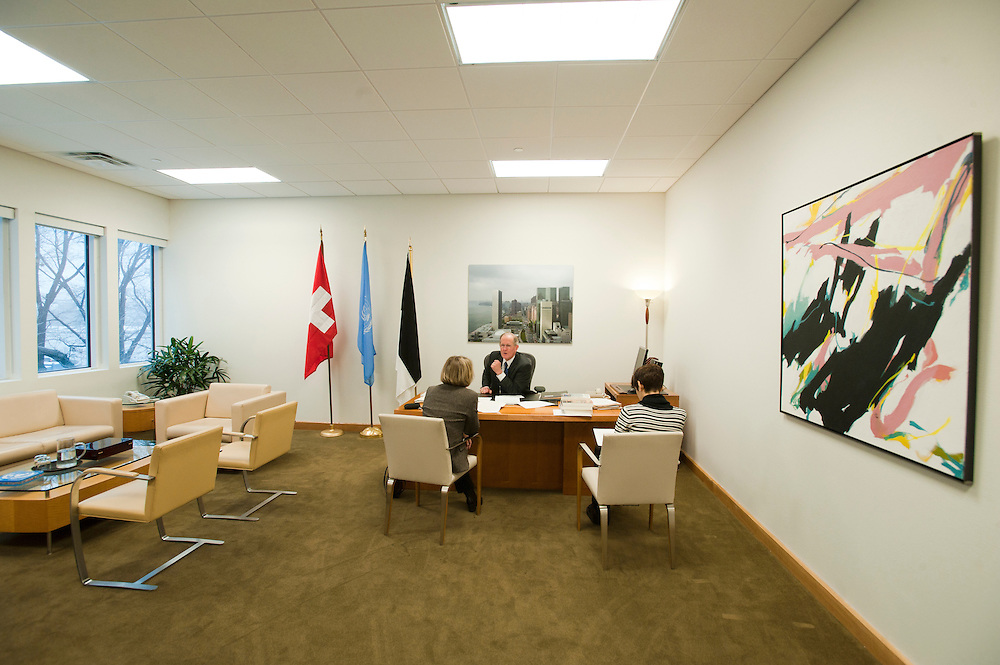 H.E. Joseph Deiss, President of the 65th General.Assembly of the United Nations, at his office at the UN, New York City in January 2011. With his personal adviser Danielle Meuwly Monteleone (striped sweater) and Pia Seiler, editor of Schweizer Familie magazine.