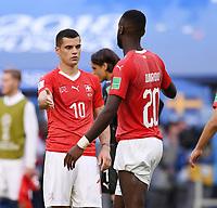 FUSSBALL  WM 2018  Achtelfinale  03.07.2018 Schweden - Schweiz Enttaeuschung Schweiz; Granit Xhaka (li) klatscht Johan Djourou ab