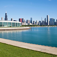Photo of Shedd Aquarium and Chicago skyline along Lake Michigan in downtown Chicago, Illinois. The Shedd Aquarium is one of Chicago's best and most popular attractions. Picture is high resolution and was taken in 2010.