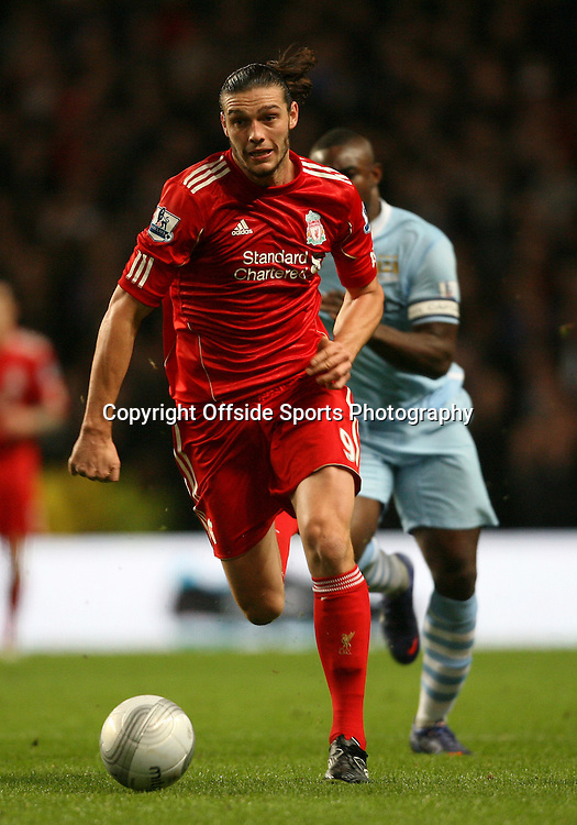 11/01/2012 - Carling Cup Semi-Final (1st Leg) - Manchester City vs. Liverpool - Andy Carroll of Liverpool on the charge - Photo: Simon Stacpoole / Offside.