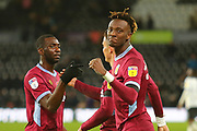 Aston Villa's Tammy Abraham (18) celebrates after the final whistle during the EFL Sky Bet Championship match between Derby County and Aston Villa at the Pride Park, Derby, England on 10 November 2018.