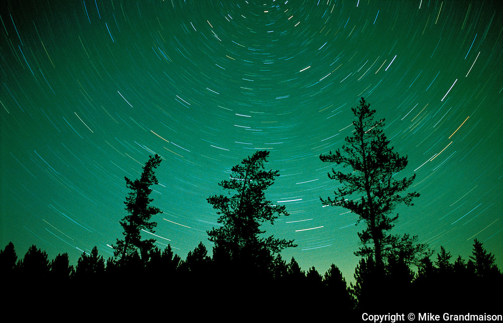 Star trails about the North Star with greenish glow of the northern lights<br /> Sandilands Provincial Forest<br /> Manitoba<br /> Canada
