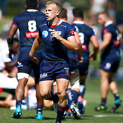 Andrew Deegan of the Melbourne Rebels during the super rugby match between the Melbourne Rebels and the Cell C Sharks at the  Mars Stadium,Ballarat,Western suburbs of Melbourne,Victoria, Australia, 22,020,2020 (Photo Steve Haag /HollywoodBets)