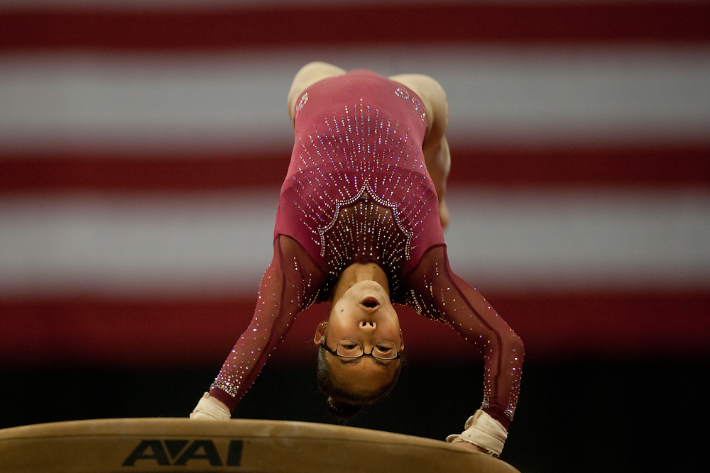 USA Gymnastics GK Classic - Schottenstein Center, Columbus, OH - July 28th, 2018.  Morgan Hurd during warm-ups,  competes on the vault  at the Schottenstein Center in Columbus, OH; in the USA Gymnastics GK Classic in the senior division. Simone Biles won the allround with Riley McCusker second and Morgan Hurd third. - Photo by Wally Nell/ZUMA Press
