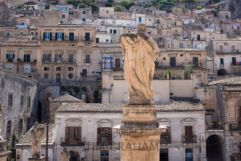 Religious statue at cathedral church Chiesa di San Pietro Apostolo church in Modica Bassa, Sicily