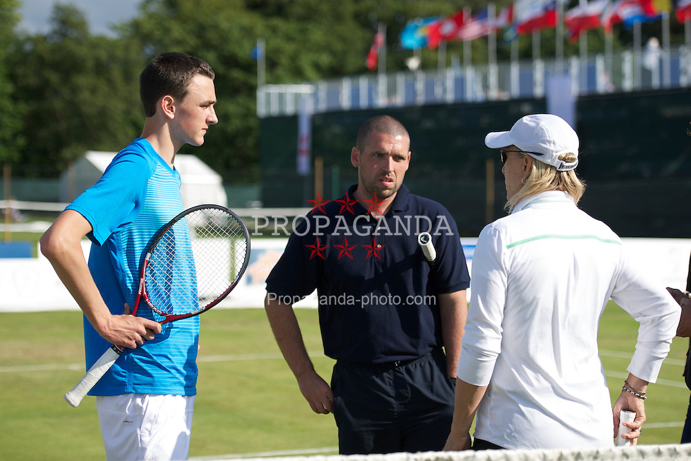 LIVERPOOL, ENGLAND - Saturday, June 18, 2011: Martina Navratilova (USA) chats with Harry Meehan (GBR) and coach Anthony Hardman during day three of the Liverpool International Tennis Tournament at Calderstones Park. (Pic by David Rawcliffe/Propaganda)