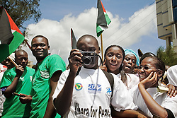 A group of Kenyans during the VII World Social Forum opening march, coming from Kibera's slum to Uhuru's Park, at Nairobi city, Kenya.