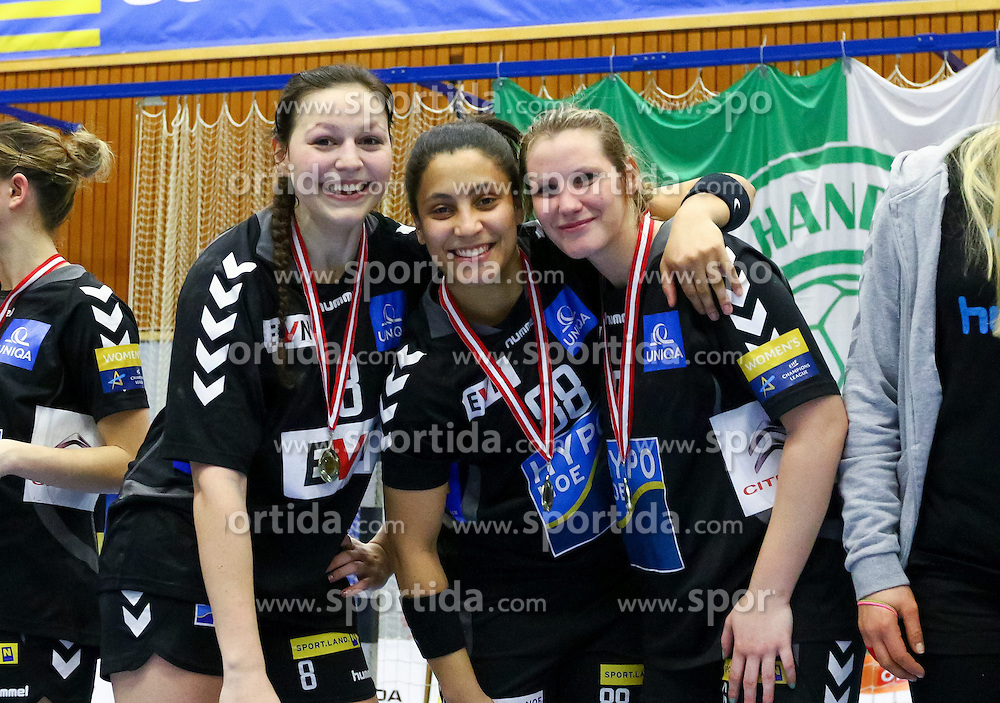 28.03.2015, BSFZ Suedstadt, Maria Enzersdorf, AUT, ÖHB Cup, Finale Frauen, Hypo NÖ vs SSV Dornbirn Schoren, im Bild Martina Goricanec (Hypo NÖ), Mariana Costa (Hypo NÖ), Mirela Dedic (Hypo NÖ)// during the ÖHB Cup women's finale Match between Hypo NÖ and SSV Dornbirn Schoren at the BSFZ Suedstadt, Maria Enzersdorf, Austria on 2015/03/28, EXPA Pictures © 2015, PhotoCredit: EXPA/ Sebastian Pucher