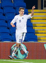 16.11.2013, Cardiff City Stadium, Cardiff, WAL, Fussball Testspiel, Wales vs Finnland, im Bild Riku Riski of Finland celebrates scoring his goal to make the score 1-1 // during the international friendly match between Wales and Finland at the Cardiff City Stadium in Cardiff, Great Britain on 2013/11/17. EXPA Pictures © 2013, PhotoCredit: EXPA/ Propagandaphoto/ Kieran McManus<br /> <br /> *****ATTENTION - OUT of ENG, GBR*****