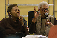 The Hyde Park Chapter of OWL &ndash; The Voice of Women over 40 hosted a panel discussion of the book, &ldquo;Negroland&rdquo; by local author, Margo Jefferson Saturday, February 4th, 2017 in the basement of the Treasure Island grocery store located at 1526 E. 55th Street.<br /> <br /> 9971 &ndash; Jean Hester discusses the book, &ldquo;Negroland&rdquo; by local author, Margo Jefferson as Dolores Cross listens.<br /> <br /> Please 'Like' &quot;Spencer Bibbs Photography&quot; on Facebook.<br /> <br /> All rights to this photo are owned by Spencer Bibbs of Spencer Bibbs Photography and may only be used in any way shape or form, whole or in part with written permission by the owner of the photo, Spencer Bibbs.<br /> <br /> For all of your photography needs, please contact Spencer Bibbs at 773-895-4744. I can also be reached in the following ways:<br /> <br /> Website &ndash; www.spbdigitalconcepts.photoshelter.com<br /> <br /> Text - Text &ldquo;Spencer Bibbs&rdquo; to 72727<br /> <br /> Email &ndash; spencerbibbsphotography@yahoo.com
