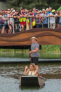 Katherine Jenkins leaves by punt after singing on the Waterfront stage in front of a large crowd - The 2017 Latitude Festival, Henham Park. Suffolk 16 July 2017
