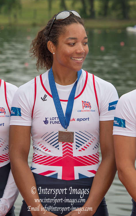 Belgrade, SERBIA,   A Finals GBR W8+, Donna ETIEBET, at the 2014 FISA European Rowing Championships. Lake Sava. <br /> <br /> <br /> 14:14:13  Sunday  01/06/2014<br /> <br /> [Mandatory Credit; Peter Spurrier/Intersport-images]