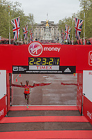 Tigist Tufa of Ethiopia crosses the finish line to win the Elite Womens race at the Virgin Money London Marathon , Sunday 26th April 2015.<br /> <br /> Dillon Bryden for Virgin Money London Marathon<br /> <br /> For more information please contact Penny Dain at pennyd@london-marathon.co.uk
