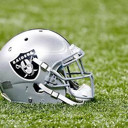 Aug 16, 2013; New Orleans, LA, USA; A detail of a Oakland Raiders helmet on the field before a preseason game against the New Orleans Saints at the Mercedes-Benz Superdome. Mandatory Credit: Derick E. Hingle-USA TODAY Sports