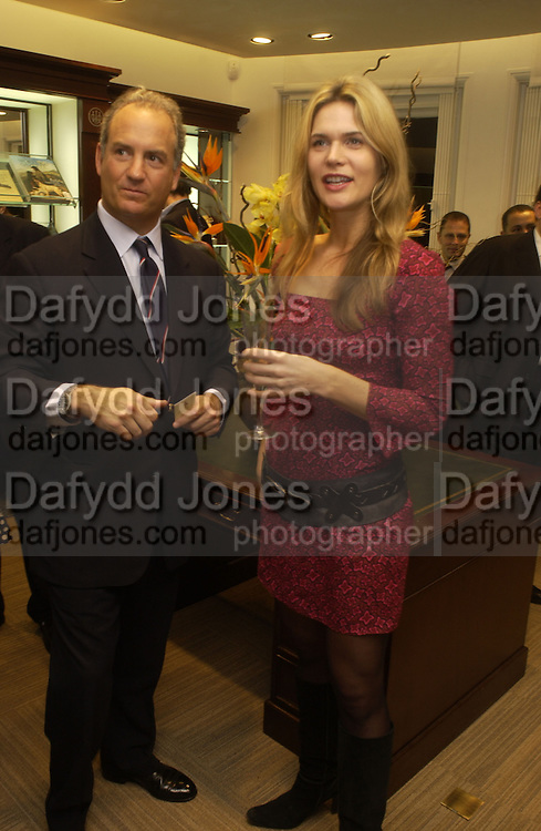 Charles Finch and Celia Walden. Charles Finch and Dr. Franco Beretta host launch of Beretta stor at 36 St. James St. London. 10  January 2006. ONE TIME USE ONLY - DO NOT ARCHIVE  © Copyright Photograph by Dafydd Jones 66 Stockwell Park Rd. London SW9 0DA Tel 020 7733 0108 www.dafjones.com